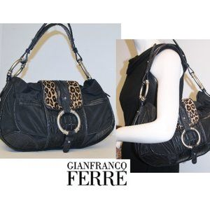 New Italian Mixed Media Croc Fur Leather Hobo Bag